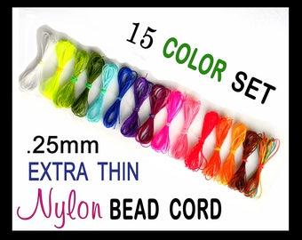 0.25mm Nylon Cord Bead Thread - 15 Colors Extra Thin Cording