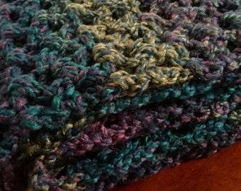 Handmade Long Scarf--Shades of Blue