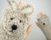 Rabbit / Bunny Fingerless Gloves (Beige) ~ Handmade