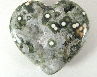 Ocean Jasper PUFFY Heart with Druzy Crystals -  ETOJ635