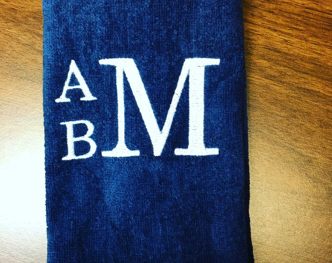 monogrammed towel, Personalized golf towel, workout towel, sweat towel, exercise towel, monogram, name or saying anything