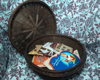 Antique Sewing Basket Filled with Sewing Notions