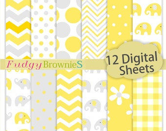 """ON SALE cute baby shower background 12""""x12"""", baby shower digital paper , No.291/2 scrapbook background, elephant yellow and gray"""