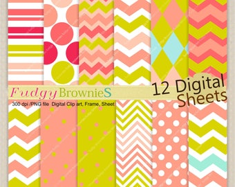 "ON SALE Pink and green digital paper background 12x12"" , tea party digital paper pack, No.275-2, polkadots, pink, green"