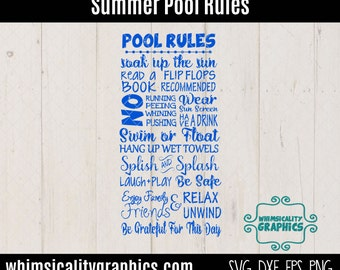 Digital File - Summer Pool Rules with SVG, DXF, PNG Commercial & Personal Use