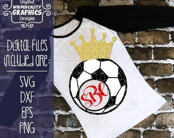 Soccer Ball For Monogram With Crown and Without with SVG, DXF, Png Commercial & Personal Use