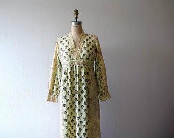 1970s India cotton dress . vintage 70s block print dress