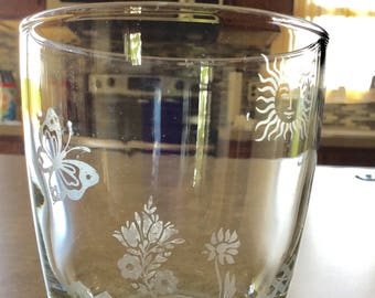 Spring Scene Etched Beverage Glass