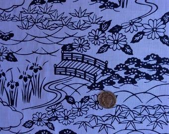 """Japanese kimono indigo blue and white cotton yukata fabric bridge and flowers 9 2 cm x 36 cm (36"""" x 14"""")"""
