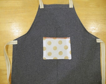 Kids Denim Apron with Metallic Gold Polka Dot Pocket  Cotton Gold Stripe Ties, Childrens Craft Smock, Toddler, Tracey Toole, Back to School