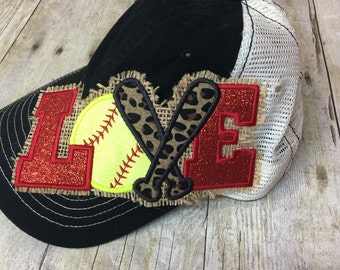 Love Softball Trucker Hat - Softball Hat - Ladies Trucker Hat - Mesh Back Hat