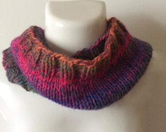 """Warm, cuddly infinity cowl in wool blend Amazing yarn in """"Mauna Loa"""" colorway, bright color changes, 24"""" around, 10"""" in height"""