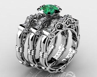 Art Masters Caravaggio Trio 14K White Gold 1.0 Ct Emerald White Diamond Engagement Ring Wedding Band Set R623S3-14KWGDEM