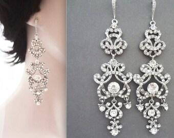 "Crystal chandelier earrings ~ Long, Crystal statement earrings ~ 4""~ Sterling ear wires ~Wedding jewelry~Brides statement earrings -ANGELINA"