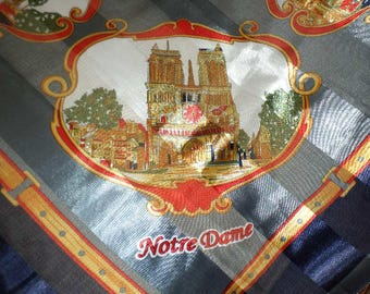"36"" PARIS SOUVENIR SCARF/Square/Navy/Red/Gold/Arch de Triumph/Eiffel Tower/Nortre Dame"