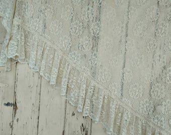 Vintage Lace Curtain Panels - Matching Cream Colored Floral Lace Valance Set, Mid Century Long Filet Lace Curtains, Lace Window Panels + Set