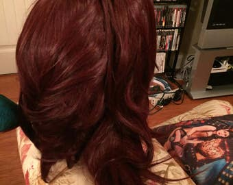 Dark Red Wig with pony tail clip