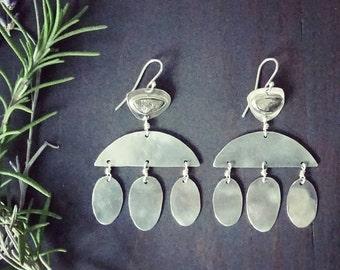 Fauna Earrings . Sterling Silver and Pyrite Modern Chandelier Earrings