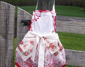 Handkerchief Apron, Farmhouse Style Full Length from Vintage Handkerchiefs in Red and White, Tea Party, Retirement or Gourmet Cook Gift