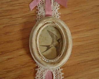 "Oval framed picture ""Birds"". Dollhouse. Home decor. 1/12th scale"