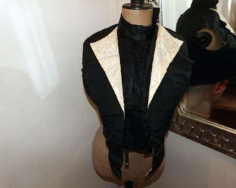 Victorian black bolero jacket gilet w tambour lace, muslin, French handmade black Gothic Steampunk clothing, made in France