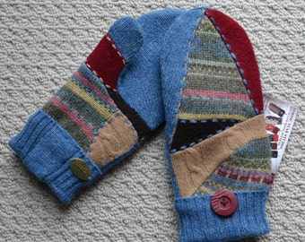 WOOL MITTENS Handmade recycled upcycled 100%  wool sweater, Fleece Lined, Embroidered , Fair Isle, Patchwork