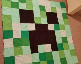 Minecraft Creeper Flannel Rag Quilt