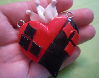 Harley Heart Necklace, Harley Quinn Inspired Clay Necklace, Valentines Gift
