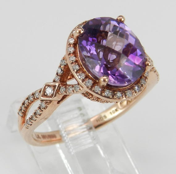 Diamond and Amethyst Halo Engagement Ring Gemstone Promise Rose Gold Size 7