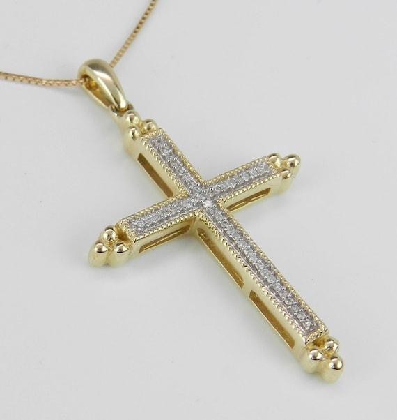 "Diamond CROSS Pendant Necklace Religious Charm 18"" Yellow Gold Chain"