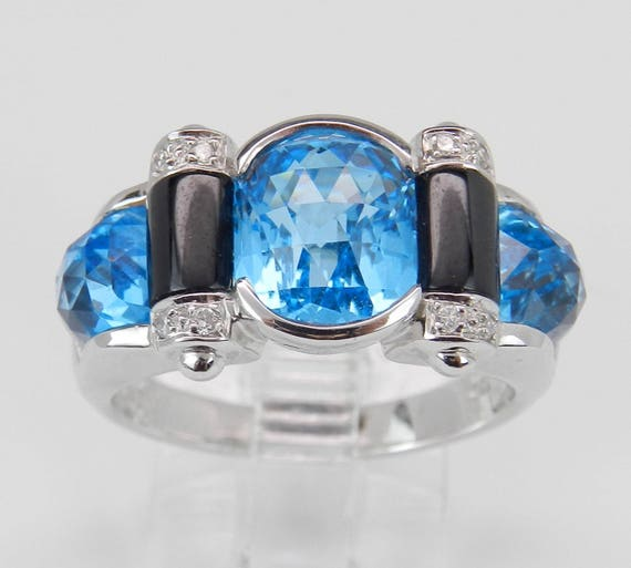 Diamond Blue Topaz and Black Onyx Statement Right Hand Ring 18K White Gold Size 6.75