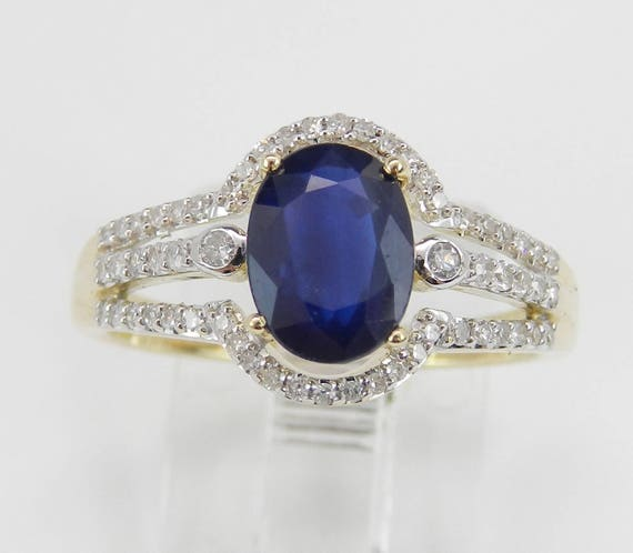 Diamond and Sapphire Engagement Ring Yellow Gold Size 7 September Birthstone