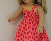 Pretty pink and red dress for 18 inch doll such as American Girl