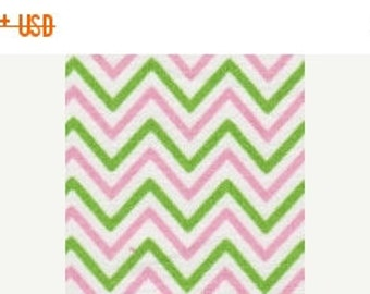 Pink and Green Chevron Fabric Finders yardage