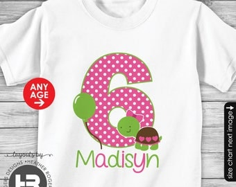 Turtle 1st Birthday Shirt or Bodysuit (Girls) - Made for ANY AGE - Personalized Turtle First Birthday Shirt with Child's Name & Age