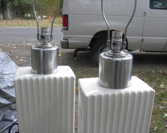 cool huge pair of WHITE and chrome mid CENTURY POTTERY lamps hollywood regency