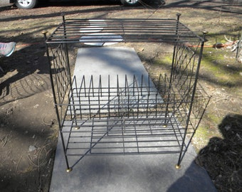 nice shape vintage 1950s mid century 3 tier WIRE and brass record book PLANT stand or shelf
