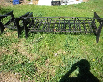 good solid shape vintage 1970s or so cast ALUMINUM and iron PATIO COUCH and chair  pick up only