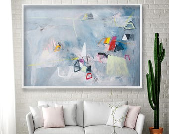 Grey Wall art Geometric art Gray Abstract PRINT extra large wall art giclee print Modern painting by Duealberi