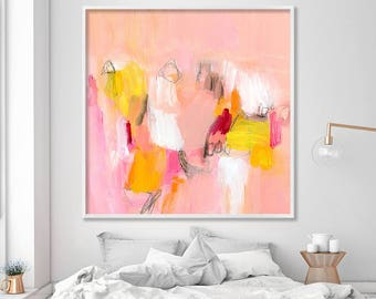 Large canvas art Abstract Print on Paper or Canvas up to  40x40 Coral Pink Yellow cool beautiful wall prints by Duealberi