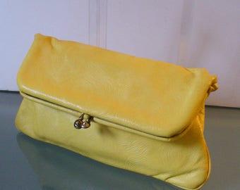 Vintage Madison Creation Lemon Yellow Foldover Leather Clutch