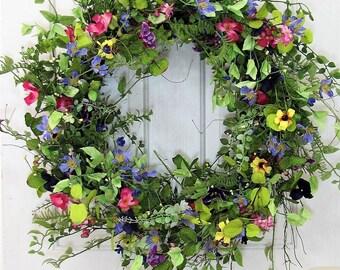 Spring Wreath -  Large Wreath - Flower Wreath - Wedding Wreath - Summer Wreath - Shabby Chic - Farmhouse Front Door - Floral Wreaths