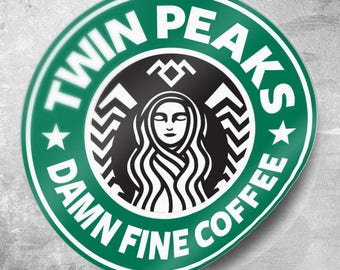 Twin Peaks Party Pack 25 or 50 Qty. Stickers, Damn Fine Coffee Sticker, Starbucks Coffee, 3 inch Sticker