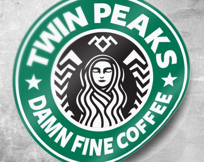 Twin Peaks Party Pack 25 or 50 Qty. Stickers, Damn Fine Coffee Sticker, Starbucks Coffee, 3 inch Sticker