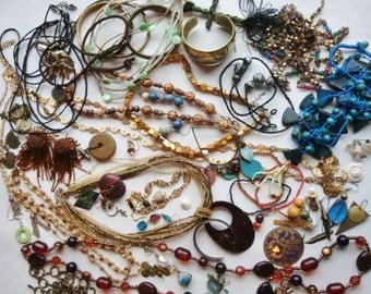 Destash New & Vintage Jewelry Lot over 1 pound   Parts Pieces Beads Focals Earthy Boho