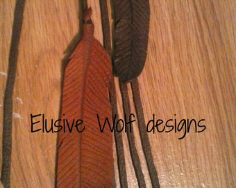 Branded Feather Purse Charm - Branded Feather Hair Charm - Leather Feathers - Accessories - Elusive Wolf