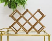 Vintage wine rack, table top folding accordion style, brass accents