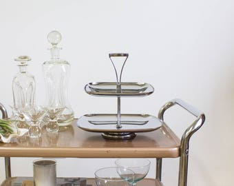 Mid Century Dessert or Appetizer Tray, Two Tier Chrome, Entertaining