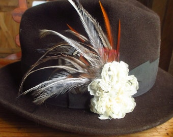Floral Lace and Feather Fascinator