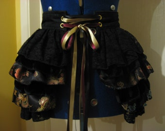 Luxurious, steampunk black bustle belt, rave, party, festival, gothic,fancy dress, costume, burning man, clothing,accessories